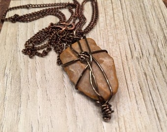 Holy Land Sentimental Jewelry Wire Wrapped Rock from Israel transformed into a unique one of a kind pendant