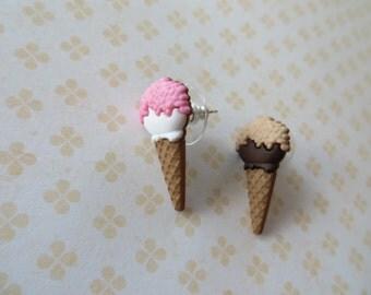 Mini Ice Cream Cone Plastic Post Earrings