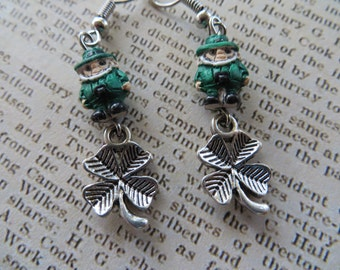 Irish Painted Clay Leprechaun and Silver Shamrock Earrings
