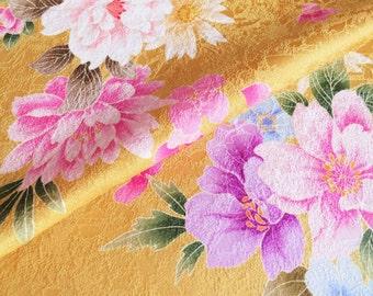 Japanese pure silk yellow ocher Floral design 6