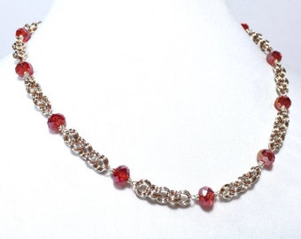 Red Crystal Silver and Copper Beaded Chainmaille Necklace