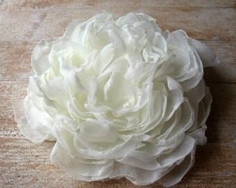 Antique Ivory Peony Wedding Hair Flower, Antique Ivory Fascinator, Hair Clip