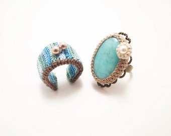 Crochet Jewelry (Boho Chic 1-a) Crochet Ring, Statement Ring, Ring Set, Fiber Ring, Gemstone