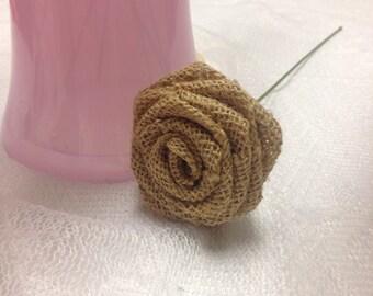 15 Burlap Roses on Stems--Rustic DIY Decorations, Wedding Decor,Burlap Flowers on Stems