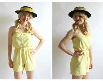 Yellow Terrycloth Romper Onesie- XS/S, Jumpsuit, Sunshine Retro Pinup Towel Shorts LOT 2