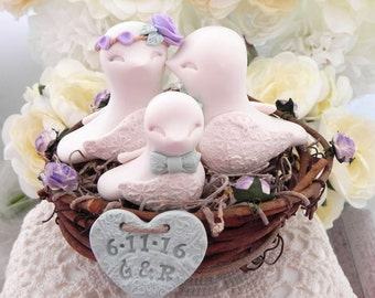 Rustic Family Love Birds, Wedding Cake Topper, Ivory, Lavender and Light Green,  Love Birds in Nest , Personalized Heart