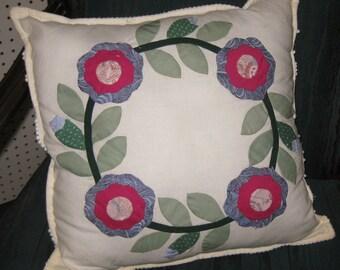 Multi-Color Floral Applique Pillow, Square