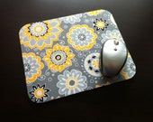 "Gray Floral Mouse Pad, Grey Floral Mousepad, Computer Mouse Pad, Mouse Mat, Gray & Yellow Floral, 1/4"" Thick Mousepad, Office"