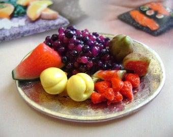 Dollshouse food 12th scale, fruit platter, miniatures food