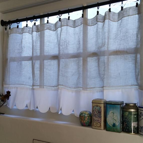 Kitchen Valance Ecru Linen Window Topper White By