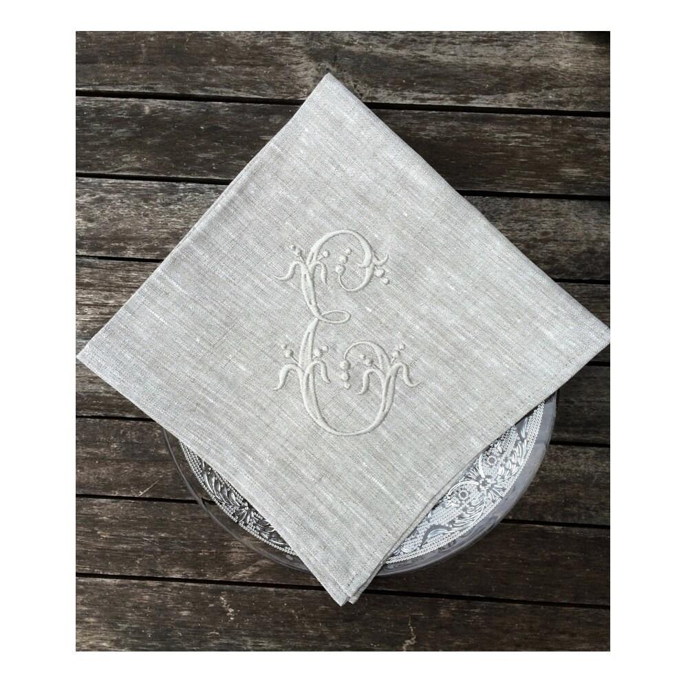Monogram Paper Napkins Uk: Monogram Linen Napkin Sets Coaster Placemat Cocktail