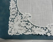 White Handkerchief with Deep Lace Floral Hem
