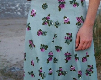 Mint Kiss, 1970s Mint Green Floral Skirt, French Vintage from Paris