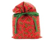Traditional Christmas Gift Bag with Holly on Red Fabric
