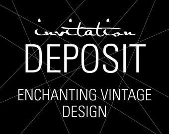 "Elegant Invitations, Wedding Invitation Deposit, Flourish Invitation - ""Enchanting Vintage"" Build-Your-Invite Collection - DEPOSIT"