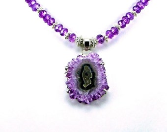 Amethyst Stalactite Sterling Silver Statement Necklace - N284
