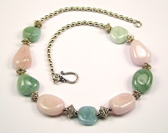 Aquamarine and Morganite Sterling Silver Necklace - N173