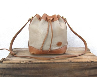 Drawstring Bucket Bag Pebbled Distressed Grey and Tan Leather Shoulder Bag
