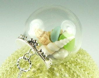 GENUINE Sea Glass Necklace In Glass Orb Jewelry With Shells And Sand