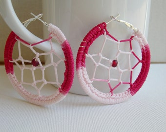Dream Catcher earrings - Big hoop earrings - Big Round earrings - Music Festival - Boho chic - Big pink earrings - girlfriend gift idea