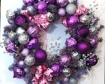 Purple, Pink and Silver Holiday Wreath - Handmade Christmas