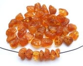 45pcs - Natural Baltic amber beads, honey amber, orange amber, amber small nugets  7-9 mm at widest part (#46)