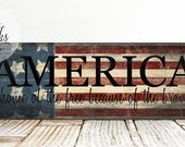 America Home Of The Free Because Of The Brave Sign, Patriotic Sign, Handcrafted Wood Sign