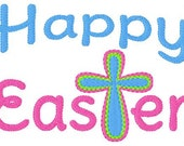 Happy Easter Cross 5x7 Machine Embroidery Design Instant Download Joyful Stitches