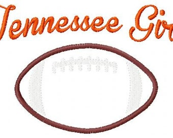 Tennessee Girl Football Machine Embroidery and Applique Design 5x7  Joyful Stitches // Joyful Stitches