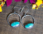 Rustic Turquoise and Sterling Silver Earrings, Turquoise Earrings Dangle Earrings Boho Jewelry Southwestern Gift for Women Girlfriend Mom