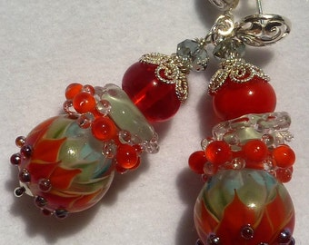 FIRE AND ICE Lampwork Earrings