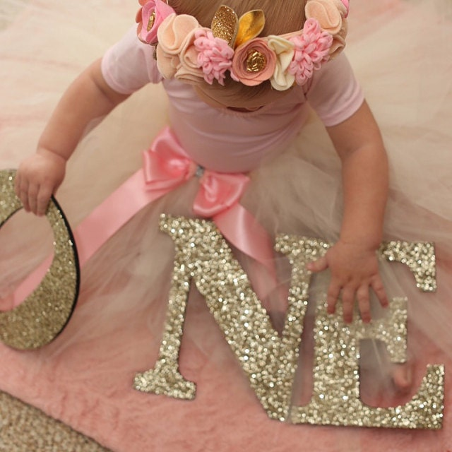 Birthday Sign Ups: ONE Sign First Birthday Sign In Glitter Wooden ONE Letters