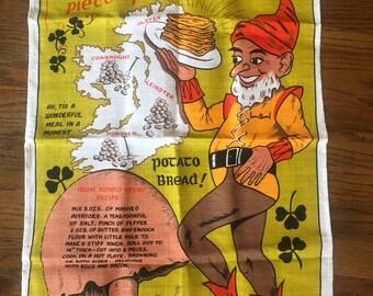 Irish leprechaun linen dish towel