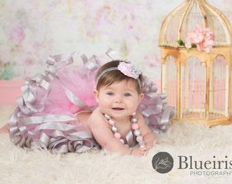 Pink Silver 1st Birthday Tutu, Baby Girls Tutu, Ribbon Tutu, Tutus, Pink Tutu, Baby Tutu, Tutu Skirt, Toddler Tutu