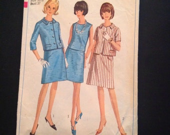 Vintage Simplicity Sewing Pattern 6414 Women's Overblouse and Suit Sz 16 1/2