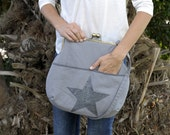 large grey shoulder bag. free shipping. grey bag. bag with star. kisslock bag. clasp bag. grey handbag. vegan