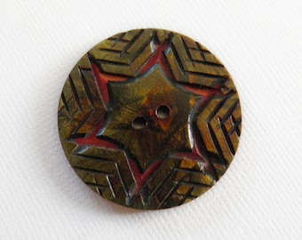 Vintage Celluloid Overlay Button Raspberry Red Green Star