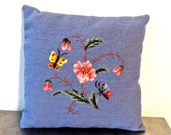 vintage periwinkle throw pillow - 1950s-60s floral needlepoint pillow