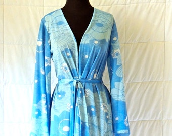 vintage Cole of California kimono top - 1960s light blue/white designer Saks Fifth Avenue belted wrap top coverup