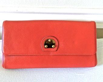 vintage red leather clutch purse - 1960s Jana oversized clutch