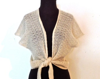vintage tie-front sweater - 1950s-60s English Village mohair sweater