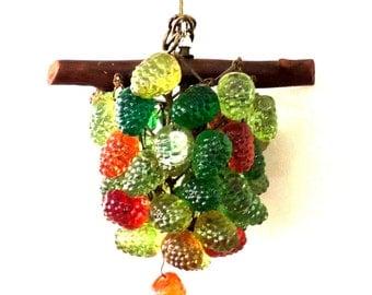 vintage grapes chandelier - 1960s mid century hanging multicolored pendant light fixture