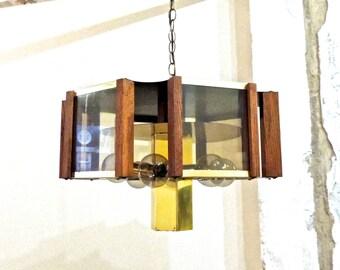 vintage smoky glass chandelier - 1960s Fredrick Ramond mid century hanging light fixture