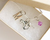 Horse Necklace Silver, Personalized Initial Necklace, Birthstone Acrylic Color, Birthday Gift, Gift for Girls, Cowgirl Necklace, Horse Gift