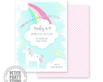 Rainbow Unicorn Printable Party Invitation - Birthday or Baby Shower - Petite Party Studio