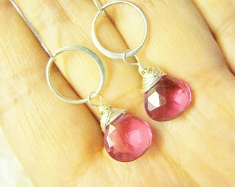 Dark Pink Quartz Earrings, Hot Pink Earrings, Bridesmaid Earrings, Pink and Silver Earrings, Pink Quartz Earrings