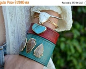 VALENTINES SALE GYPSY Longhorn /// Handcarved Bull Bracelet /// Electroformed Gold or Silver /// White or Black