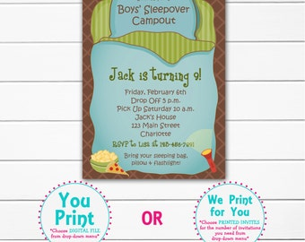 Boys Sleepover Birthday Party Invitation -- boys campout - boys slumber party