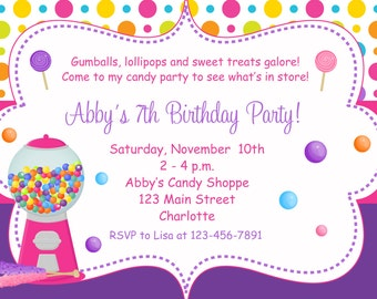 Candy Birthday Party Invitation --  candy party invitation -- you print or i print