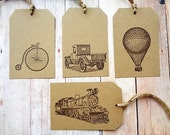 Trucks Trains Bicycles Hot Air Balloons Gift Tags Rustic Vintage Style
